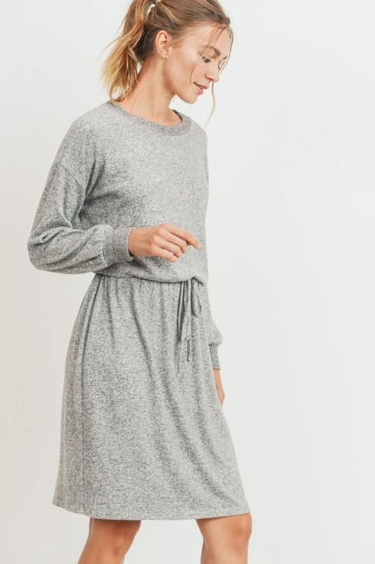Brushed Wool Longsleeve Dress with Tie Waist Dress Cherish