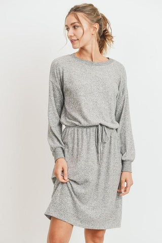 Image of Brushed Wool Longsleeve Dress with Tie Waist Dress Cherish