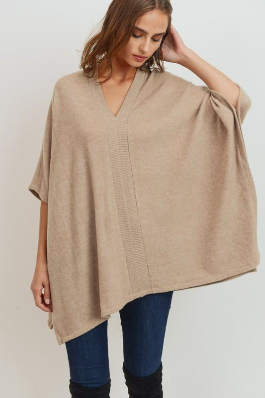 Brushed Wool Poncho poncho Cherish small taupe