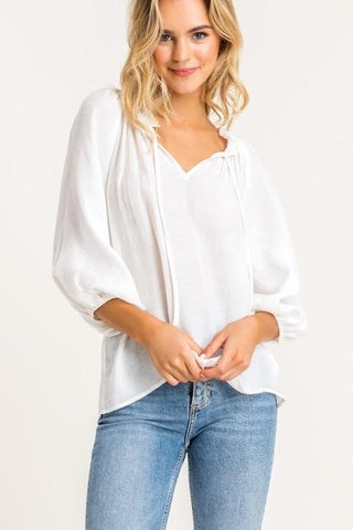 Image of Bubble Sleeve Gauzy Blouse tops lush small white