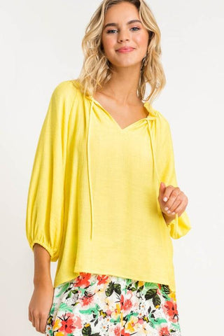 Image of Bubble Sleeve Gauzy Blouse tops lush small yellow