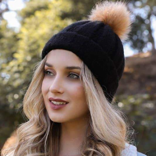 Cable Knit Beanie with Faux Fur Pom Pom Accessory Leto Accessories