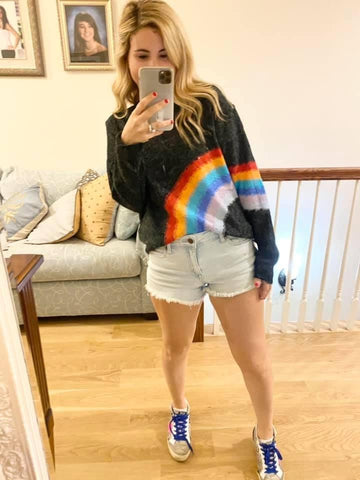 Charcoal Rainbow Sweater Cherish