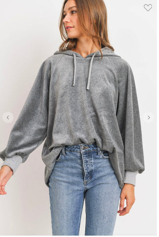 Image of Charcoal Velour Hoodie Cherish