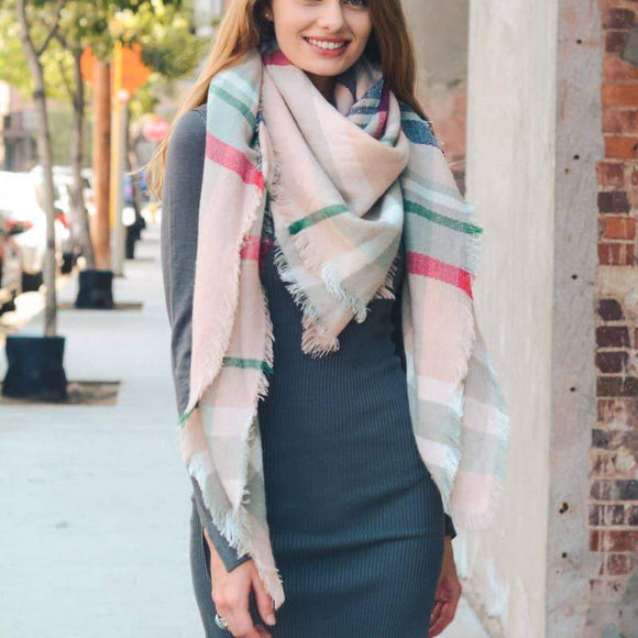 Classic Plaid Blanket Scarf Accessory Leto Accessories