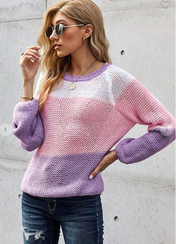 Colorblock Knit Sweater Shewin