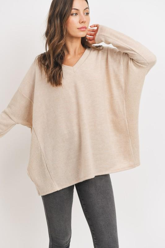 Contrasting Brushed Wool Pullover Sweater Cherish