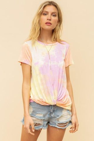 Image of Coral and Lilac Knot Front Tie Dye Shirt Top Hem & Thread
