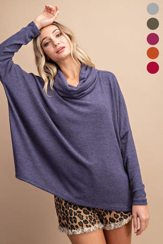 Image of Cowl Neck Knit Sweaters Sweater Eesome small indigo