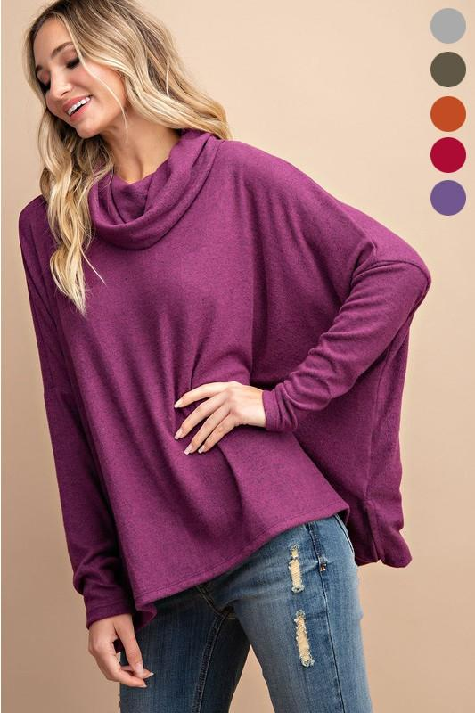 Cowl Neck Knit Sweaters Sweater Eesome small plum