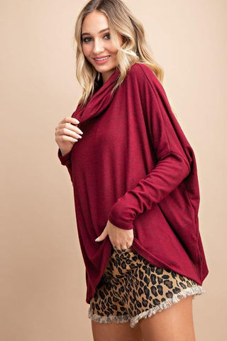 Image of Cowl Neck Knit Sweaters Sweater Eesome small ruby
