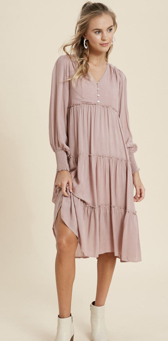 Dusty Rose Smocked Wrist Dress In Loom