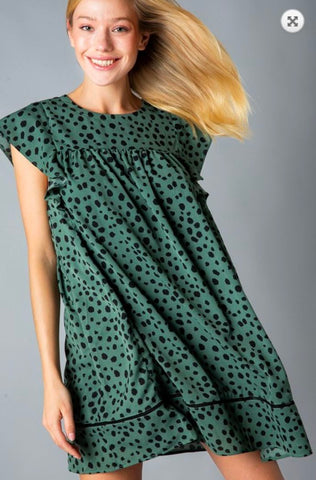 Emerald Leopard Babydoll Dress Sunglight