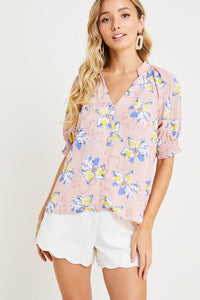 Floral Button Front Blouse Top lush