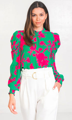 Image of Floral Puff Sleeve Top flying tomato