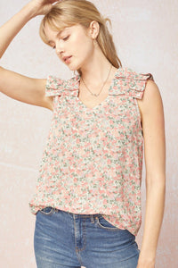 Floral Ruffle Sleeve Top tops entro