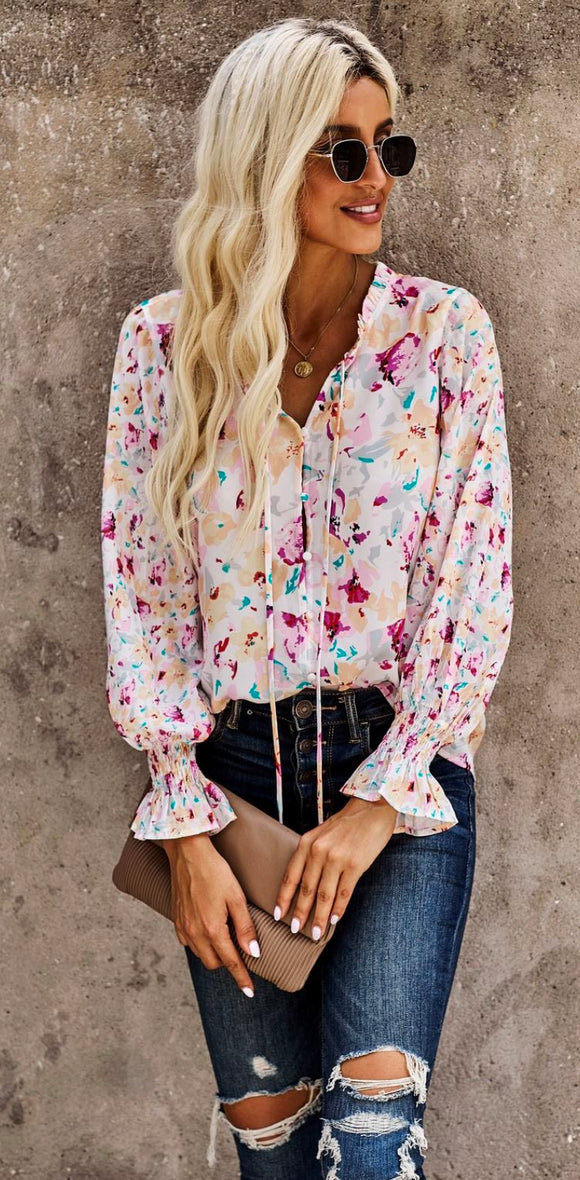 Floral Smock Sleeve Top Shiying
