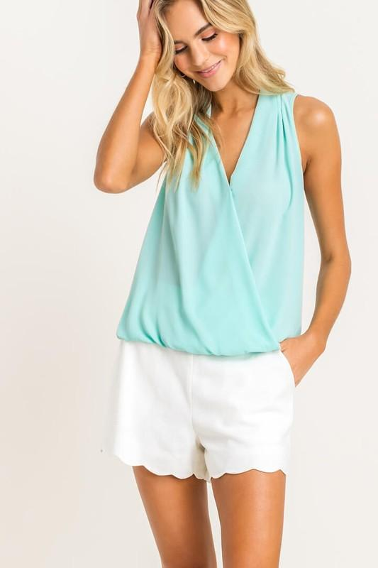 Gathered Hem Sleeveless Blouse Top lush