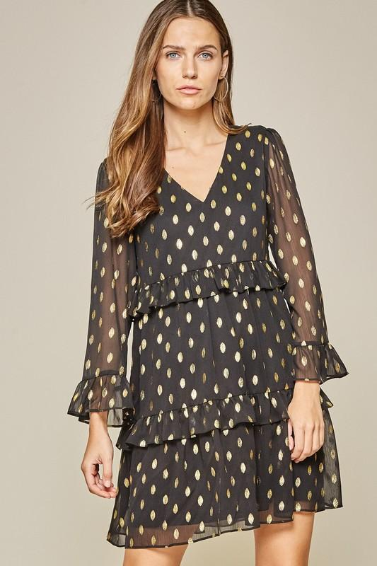 Gold Foil Dotted Dress Dress andree by unit small black