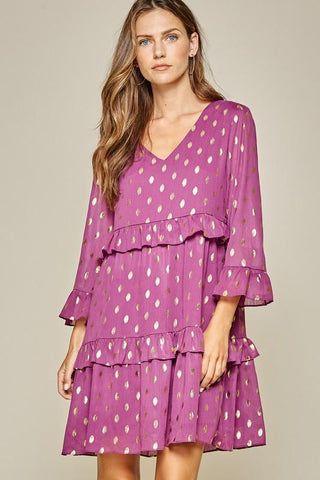 Gold Foil Dotted Dress Dress andree by unit small magenta