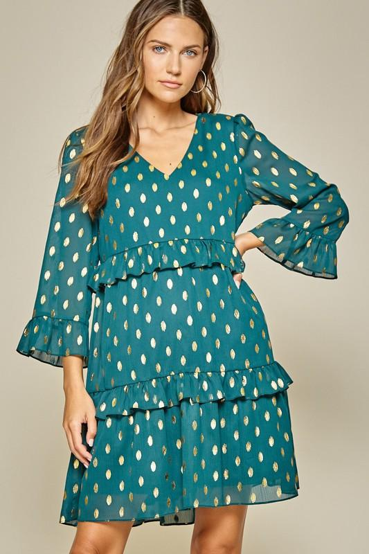 Gold Foil Dotted Dress Dress andree by unit small teal