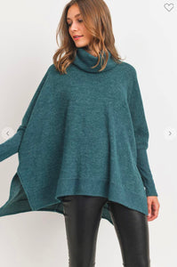 Hunter Green Cowl Neck Sweater Cherish