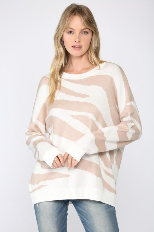 Intarsia Zebra Stripe Sweater Sweater Fate
