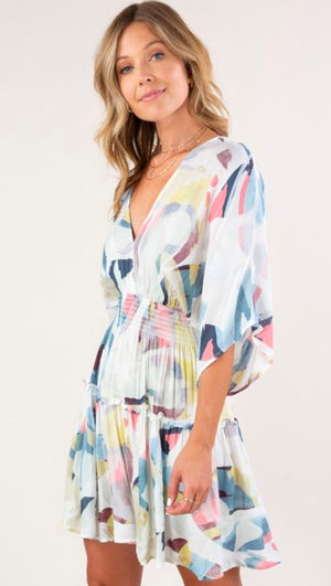 Kimono Watercolor Print Dress lovestitch