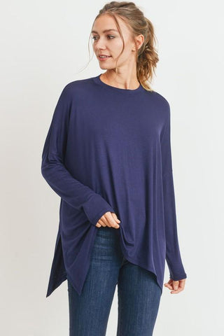 Image of Knit Tunic with Side Slits tunic Cherish small navy