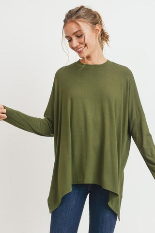 Image of Knit Tunic with Side Slits tunic Cherish small olive