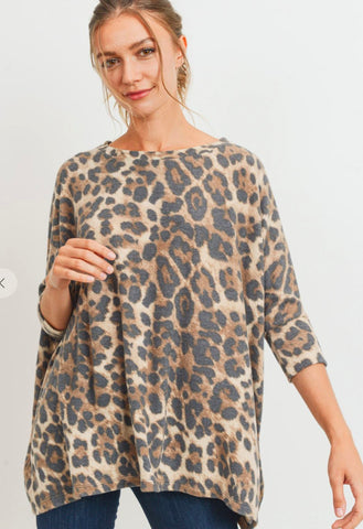 Leopard Brushed Knit Sweater Cherish