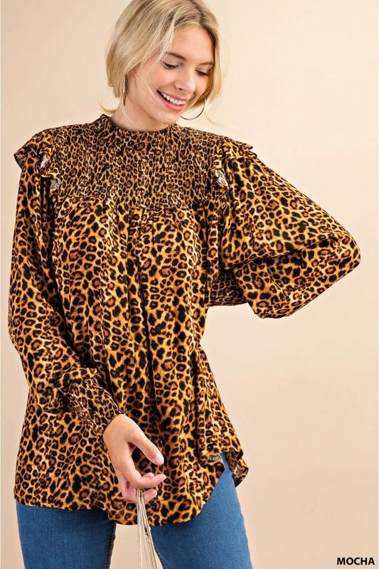 Leopard Smocked Top Blouse Top kori america