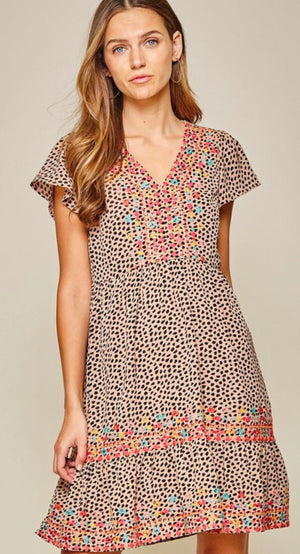 Leopard with Embroidery Dress andree by unit