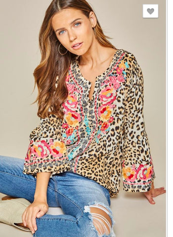 Leopard with Embroidery Top andree by unit