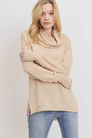 Image of Lightweight Cowl Neck Sweater Sweater Cherish small camel