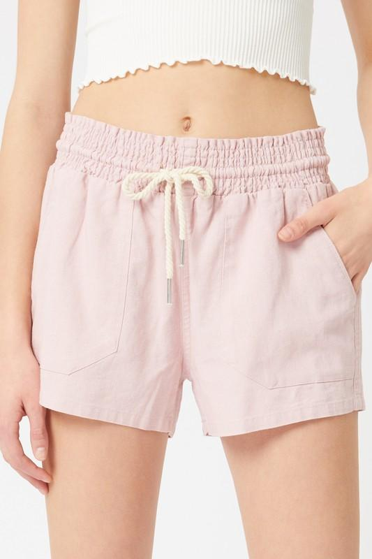 Linen Drawstring Shorts Shorts love tree fashion