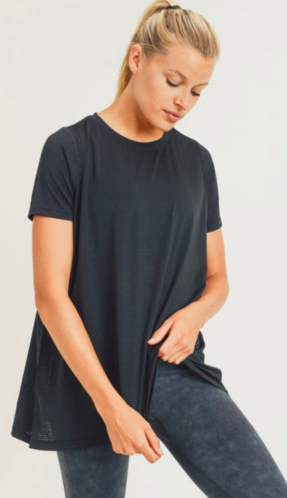 Mesh Cutout Top Short Sleeve SNAP-Something New And Pretty