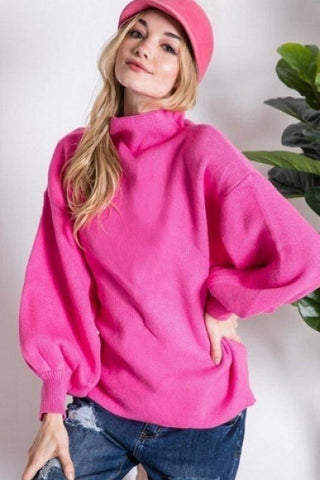 Image of Mock Neck Puff Sleeve Sweater Sweater Davi and Dani small hot pink