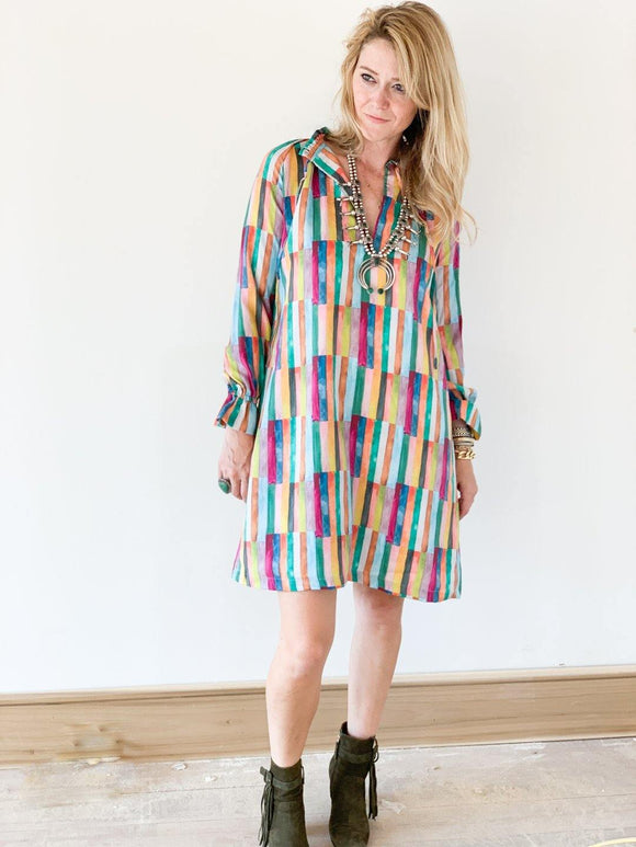 Mollie Dress - Quilted Striped Vintage Dress Brooke Wright