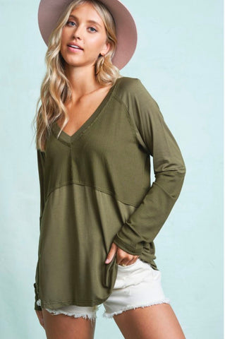 Multi Texture Long Sleeve Top LA MIEL