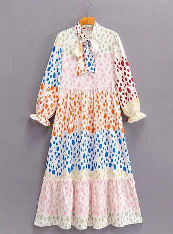 Multicolor dot print dress Dress Aly Daly