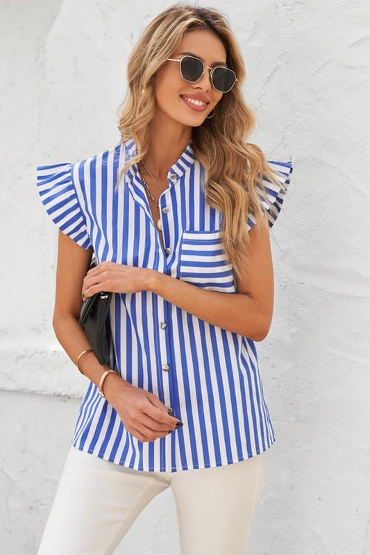 Nautical Striped Poplin Shirt Top Shiying