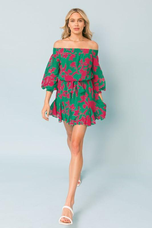 Off the Shoulder Floral Romper tops flying tomato