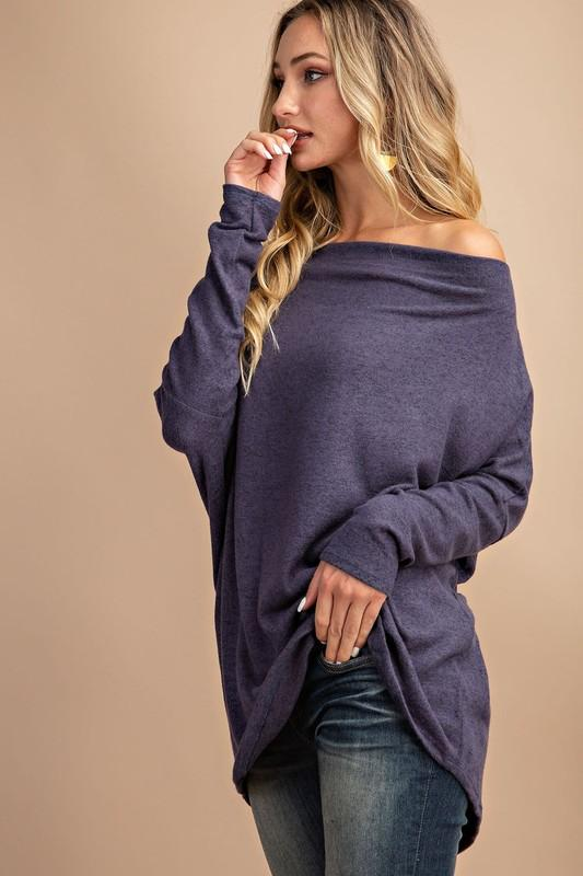 Off the Shoulder Tunic Sweater Eesome small indigo