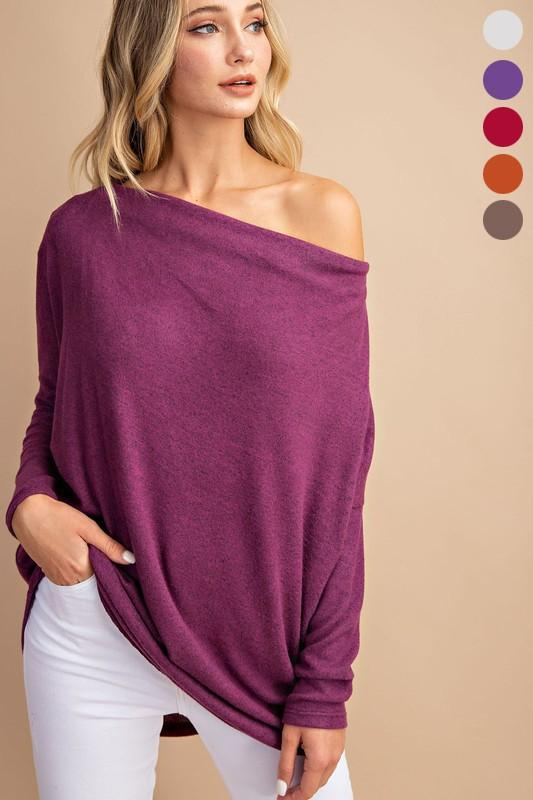 Off the Shoulder Tunic Sweater Eesome small plum