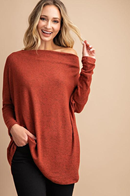 Off the Shoulder Tunic Sweater Eesome small pumpkin