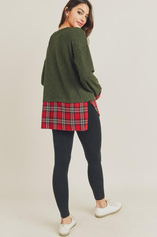 Olive Knit Top with Tartan Hem Top doe and rae