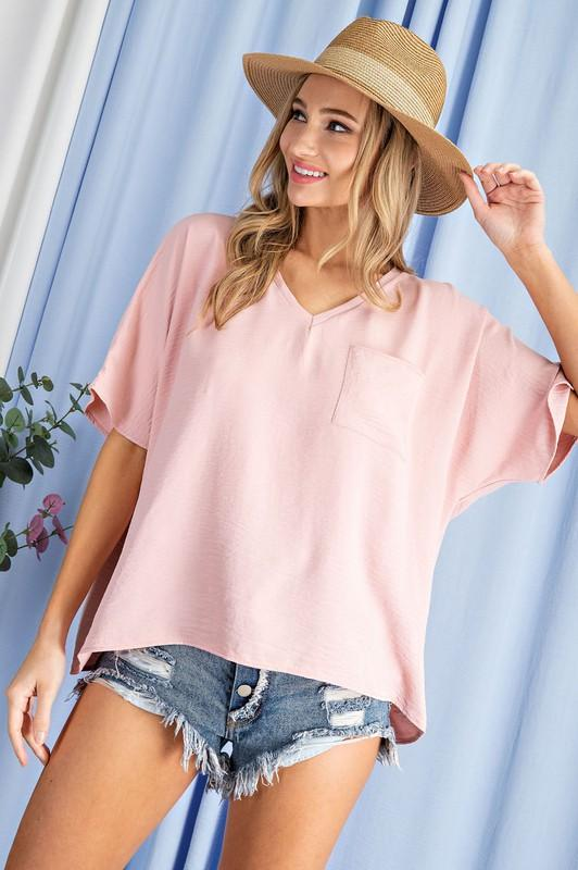 Oversized Pocket Top Top Eesome small blush