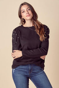 Pearl Detail Puff Sleeve Top Top doe and rae