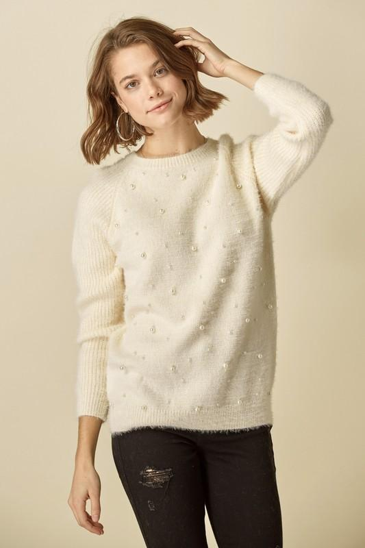 Pearl Detail Sweater Sweater doe and rae